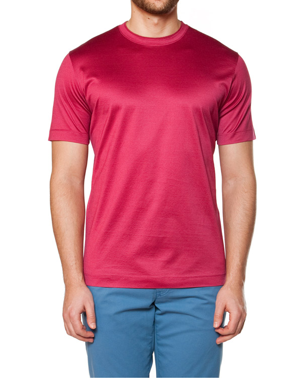 футболка прямого силуэта, из тонкого хлопка с атласным отливом артикул 716607 марки Cortigiani купить за 6300 руб.