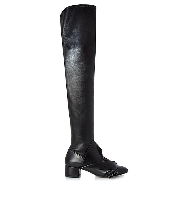 сапоги ботфорты из мягкой натуральной кожи, декорированы фирменным узлом артикул 8018 марки № 21 купить за 58100 руб.