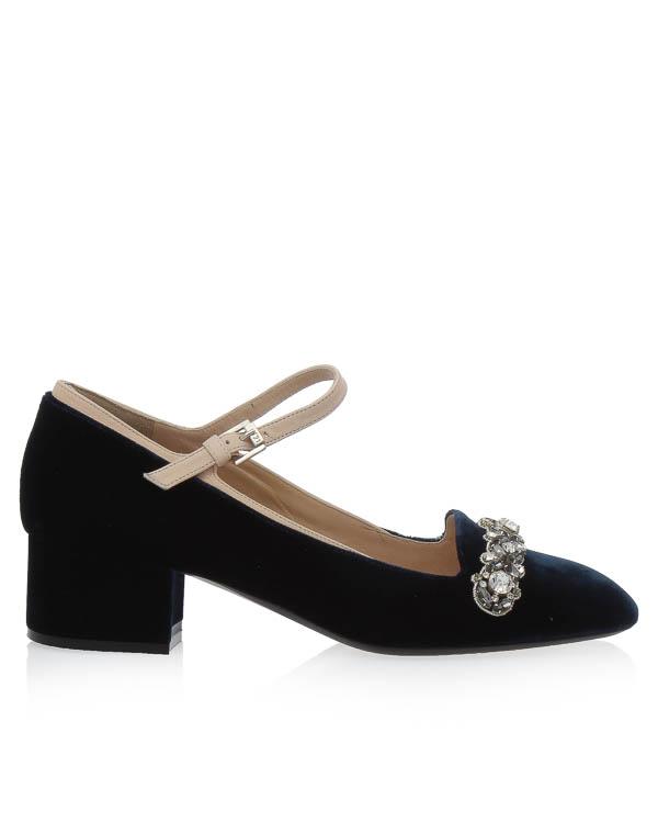 туфли из бархата с отделкой кристаллами артикул 8578 марки № 21 купить за 39500 руб.