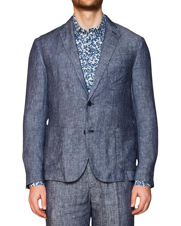 пиджак классического кроя из плотного льна артикул 8830E425 марки 120% lino купить за 15000 руб.