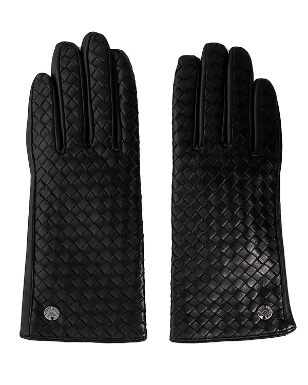 перчатки из натуральной кожи с плетеной отделкой артикул 924074 марки ARMANI JEANS купить за 8100 руб.