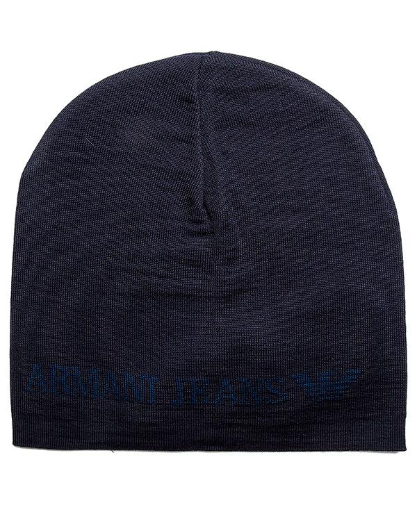 шапка из полушерстяного трикотажа артикул 934027 марки ARMANI JEANS купить за 2400 руб.
