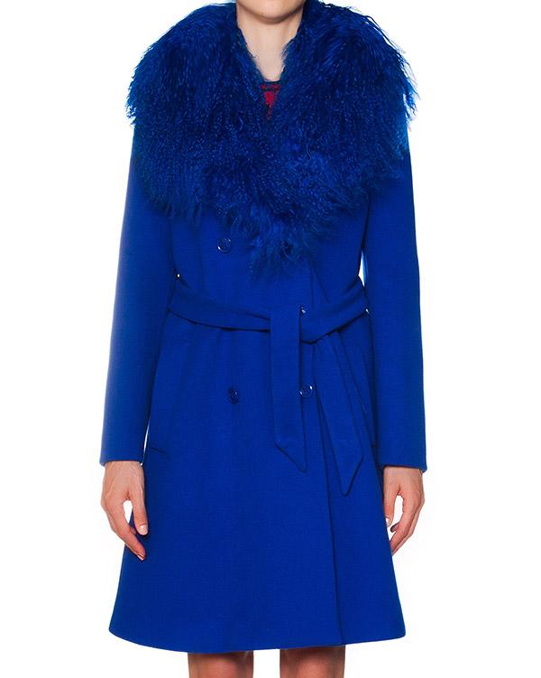 пальто из шерсти и кашемира с меховой отделкой артикул A0615-296 марки Moschino Boutique купить за 48400 руб.