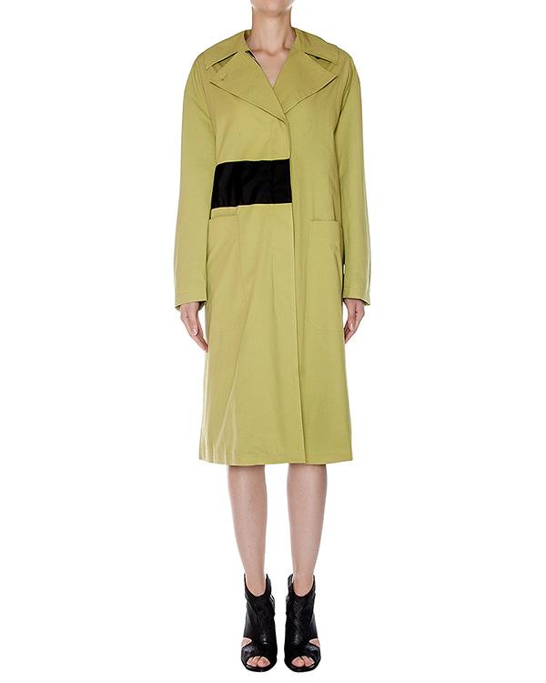 пальто прямого кроя из плотного фактурного хлопка с контрастным поясом артикул AASS16C03 марки AALTO купить за 36400 руб.