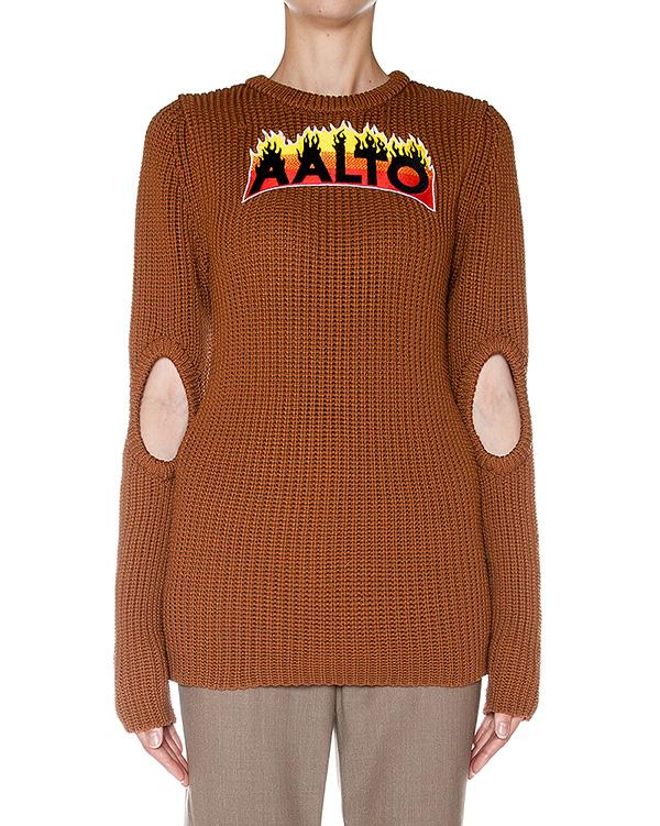 джемпер крупной вязки с вырезами на рукавах и аппликацией логотипа бренда артикул AASS16KA1SH05 марки AALTO купить за 23300 руб.