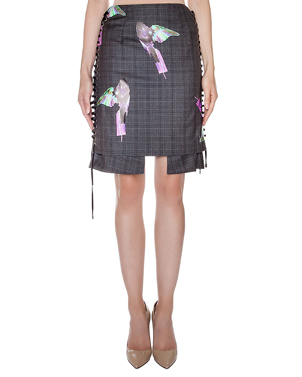юбка оригинального кроя из смеси шерсти, шелка и льна; дополнена шнуровкой по бокам и аппликациями  артикул AASS16SKSH01 марки AALTO купить за 34300 руб.