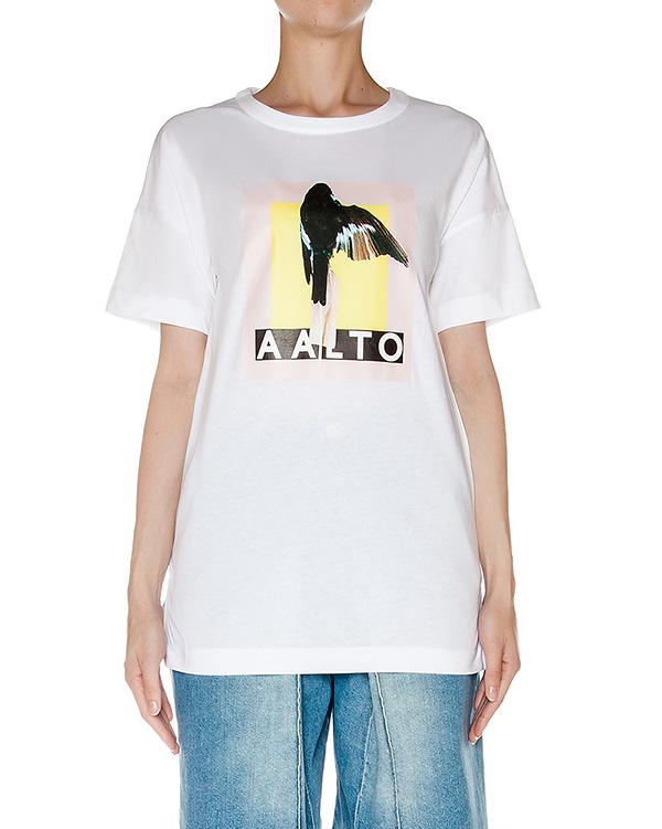 футболка из мягкого хлопкового трикотажа с принтом артикул AASS16T10B-101 марки AALTO купить за 7500 руб.