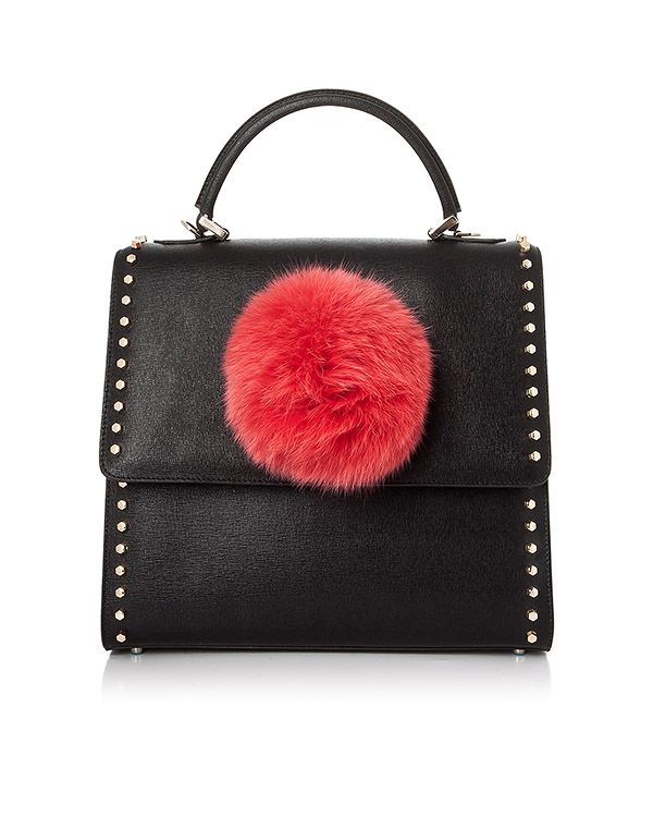 сумка из кожи, дополнена ярким помпоном артикул ABNV37V46 марки Les petits joueurs купить за 37700 руб.