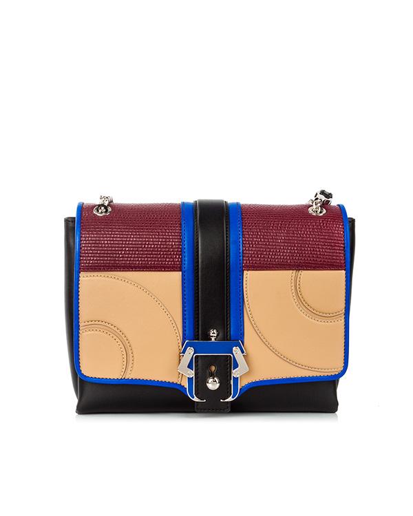 сумка из кожи теленка с яркими панелями и металлической фурнитурой артикул ALICE марки Paula Cademartori купить за 44100 руб.