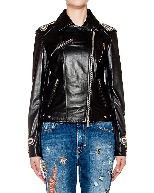 куртка косуха из гладкой натуральной кожи, дополнена нашивками на плечах артикул AMS16108 марки Amen купить за 62200 руб.