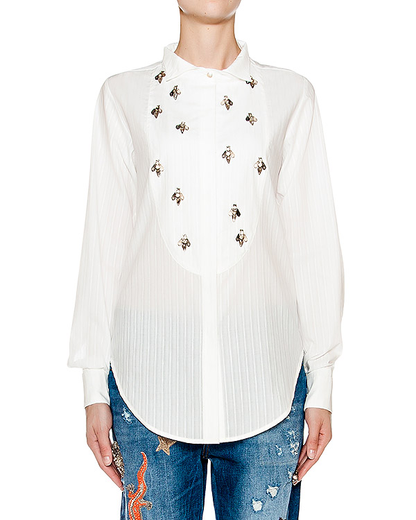 блуза из тонкого хлопка и льна, украшена бусинами и кристаллами артикул AMS16232 марки Amen купить за 13200 руб.