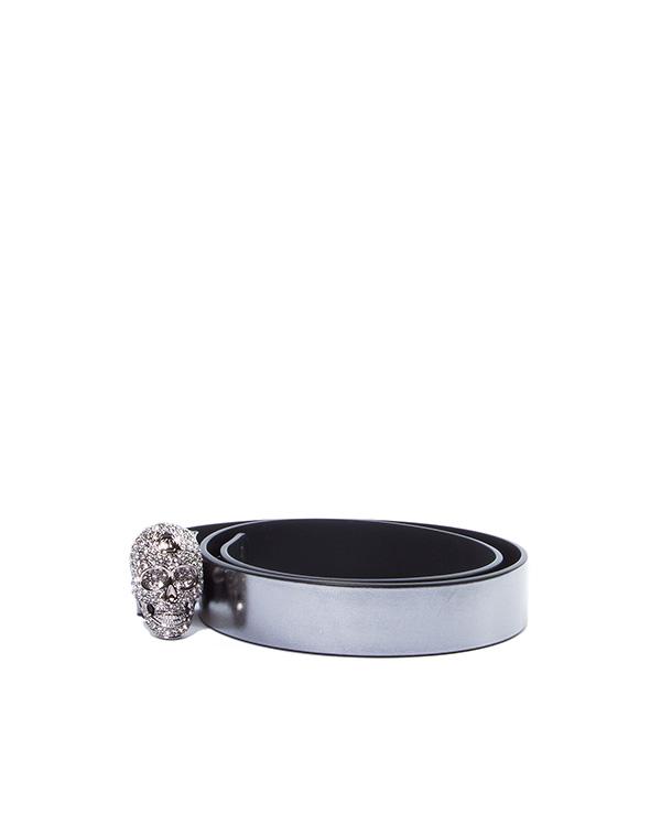 ремень из натуральной кожи с крупным металлическим черепом, декорированным кристаллами  артикул AW772479 марки PHILIPP PLEIN купить за 17700 руб.