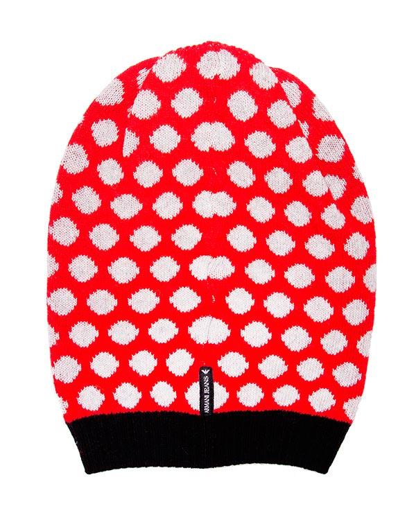 шапка из мягкой полушерстяной пряжи в крупный горох, дополнена логотипом бренда артикул B5435 марки ARMANI JEANS купить за 3100 руб.