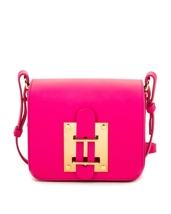 сумка из гладкой кожи на ремешке, дополнена металлической фурнитурой артикул BG198LE марки Sophie Hulme купить за 33300 руб.