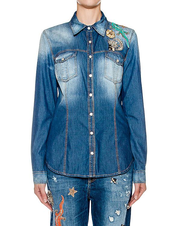 рубашка приталенного кроя из денима, украшена нашивками  артикул BLS16626 марки Amen купить за 35200 руб.