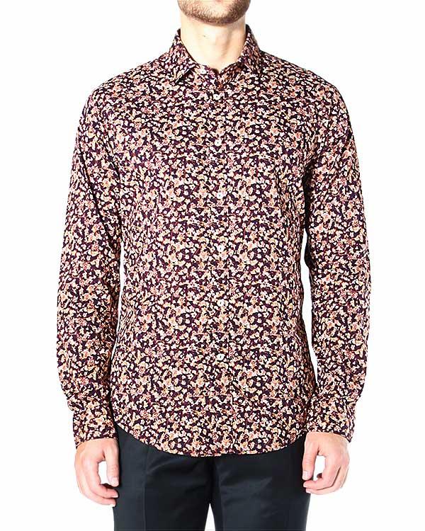 рубашка приталенная, с микро-принтом - осенними листьями артикул BS84W марки Brian Dales купить за 7400 руб.