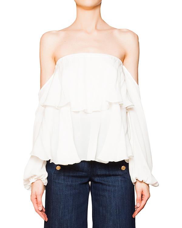 блуза с открытыми плечами из легкого шелка  артикул C803 марки DONDUP купить за 18500 руб.