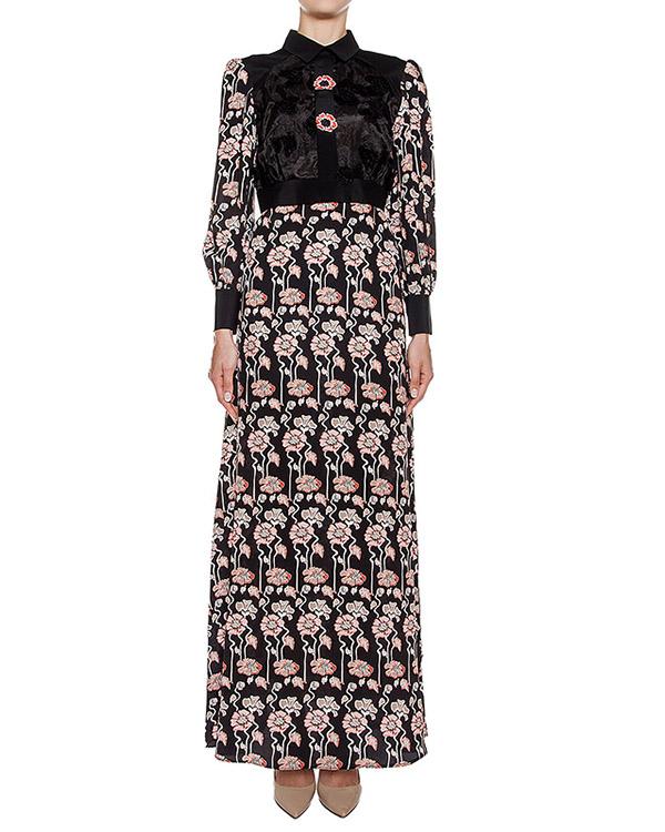 платье в пол из шелка с цветочным принтом, дополнено вышивкой артикул CA6AB0301 марки Simona Corsellini купить за 23800 руб.
