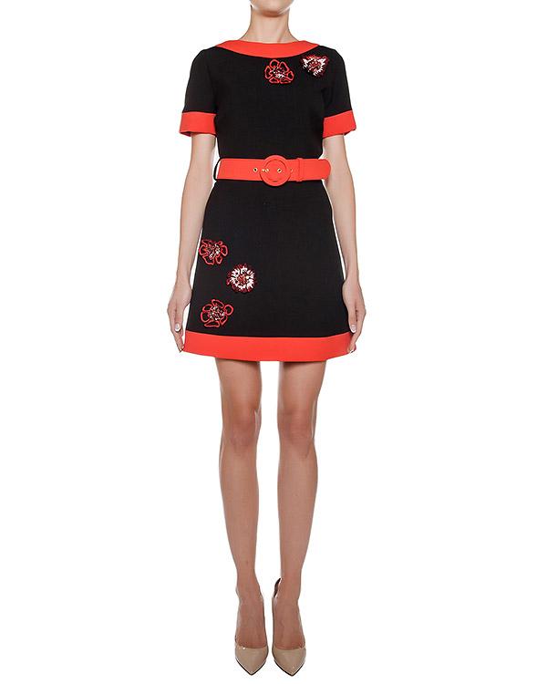 платье из плотного трикотажа с контрастными деталями и вышивкой с пайетками артикул CA6AB0901 марки Simona Corsellini купить за 18100 руб.
