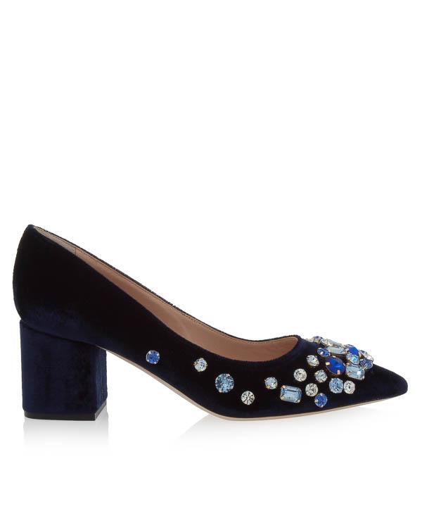 туфли из велюра с отделкой кристаллами артикул CARILAT марки GEDEBE купить за 44300 руб.