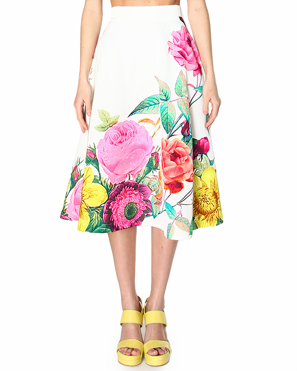 юбка midi, с посадкой на талии и ярким летним цветочным принтом артикул CATY620047 марки P.A.R.O.S.H. купить за 17900 руб.