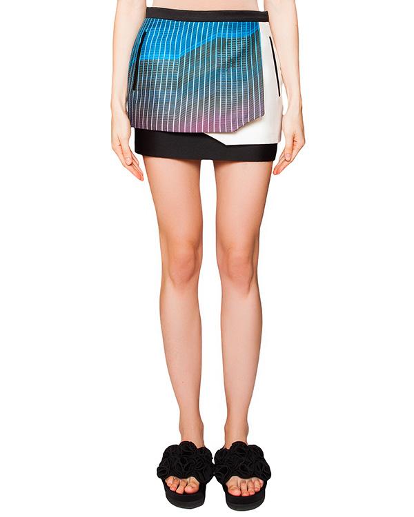 юбка оригинального двухслойного кроя из плотного шелка и хлопка, декорирована ярким рисунком артикул CCW153420 марки Cocurata купить за 10600 руб.