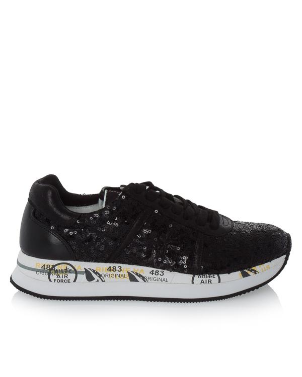 кроссовки Conny из кожи и текстиля с отделкой пайетками  артикул CONNY2587 марки Premiata sport купить за 17100 руб.