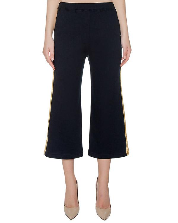 брюки из хлопкового трикотажа с золотистыми лампасами артикул COSOFT230109B марки P.A.R.O.S.H. купить за 7000 руб.