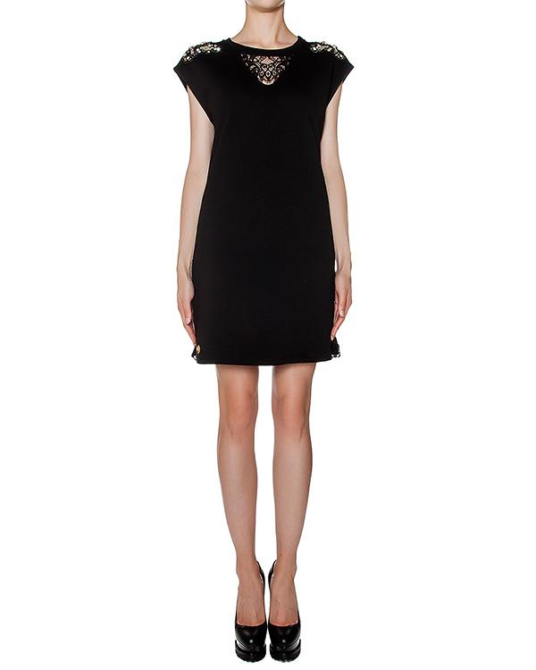 платье приталенного кроя из плотного трикотажа, дополнено вставкой из кружева и аппликациями из крупных кристаллов на плечах артикул CW401398 марки PHILIPP PLEIN купить за 35000 руб.