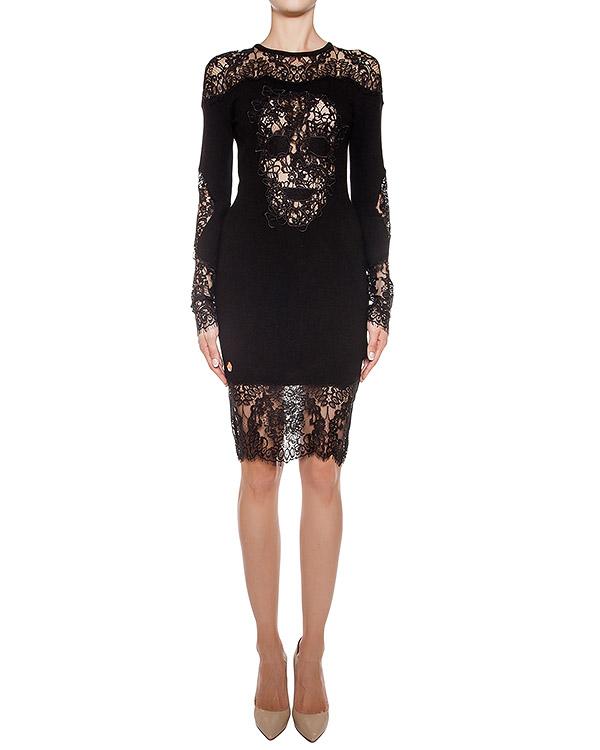 платье из мягкого шерстяного трикотажа с кружевной отделкой артикул CW411496 марки PHILIPP PLEIN купить за 61200 руб.
