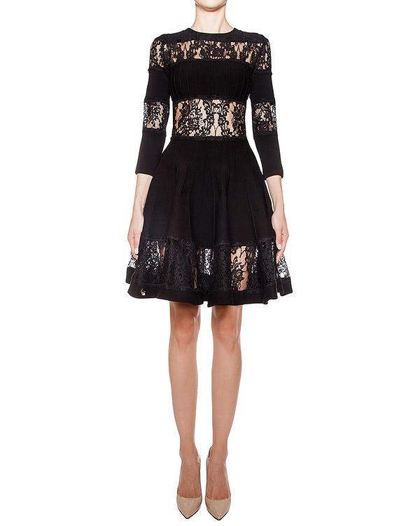 платье из хлопкового трикотажа с кружевной отделкой артикул CW411520 марки PHILIPP PLEIN купить за 68600 руб.