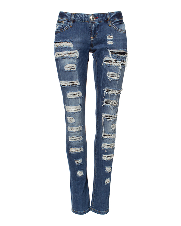 джинсы зауженного кроя, декорированы разрезами с кожаной подкладкой с шипами артикул CW500644 марки PHILIPP PLEIN купить за 41600 руб.