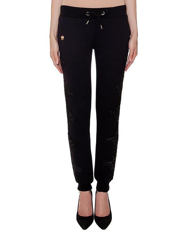 брюки в спортивном стиле из хлопкового трикотажа, дополнены декоративной отделкой по бокам артикул CW680910 марки PHILIPP PLEIN купить за 20600 руб.