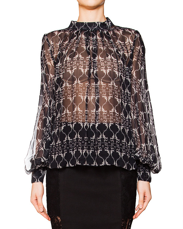 блуза свободного кроя из полупрозрачного шелка с рисунком артикул D2PS404 марки Thomas Wylde купить за 18200 руб.