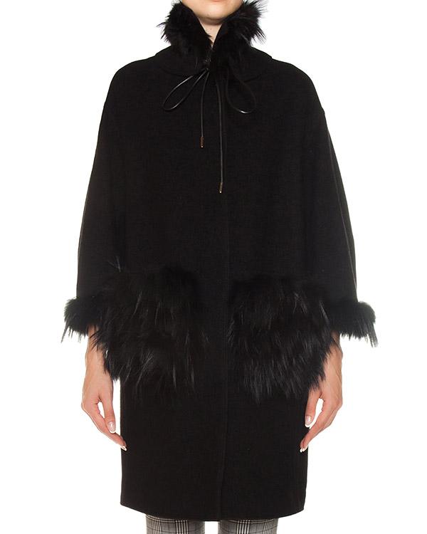 пальто из плотной шерсти с меховой отделкой артикул D316D301VOOBG марки ERMANNO SCERVINO купить за 192500 руб.
