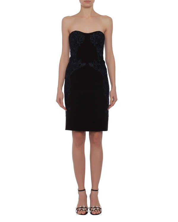 платье декорированное кружевом по линии талии и декольте артикул D888901 марки DIANE von FURSTENBERG купить за 10300 руб.