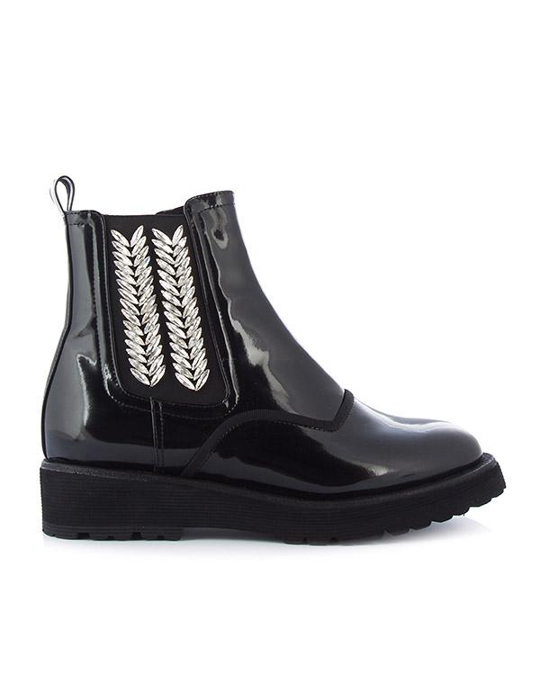 ботинки из лаковой кожи с отделкой кристаллами артикул DI3CX17002 марки Suecomma Bonnie купить за 22600 руб.