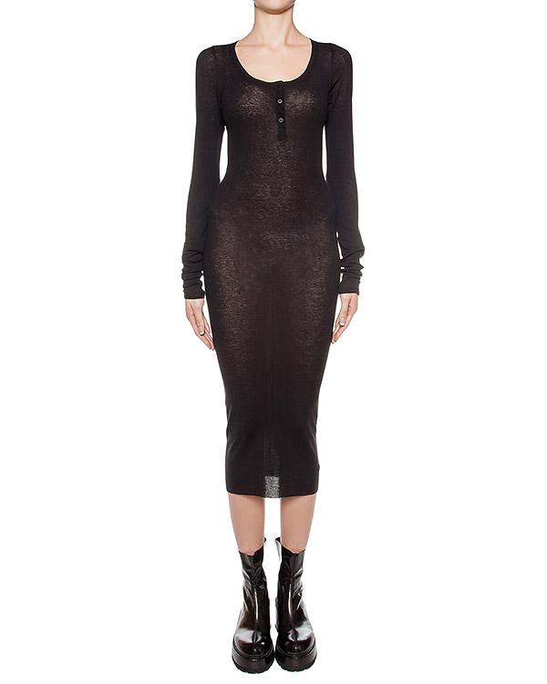 платье из мягкого хлопкового трикотажа и шерсти в рубчик артикул DJ21F16 марки Isabel Benenato купить за 22100 руб.