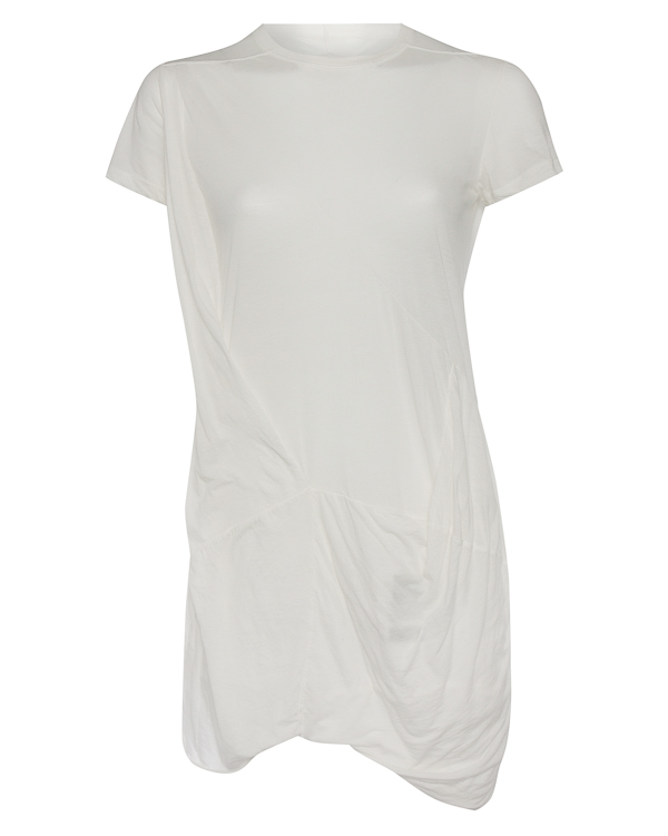 футболка удлиненного силуэта с нестандартной отделкой артикул DS17F2131B марки RICK OWENS DRKSHDW купить за 29100 руб.