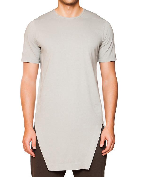 футболка удлиненного асимметричного кроя из хлопка артикул DU15F5255 марки RICK OWENS DRKSHDW купить за 9000 руб.