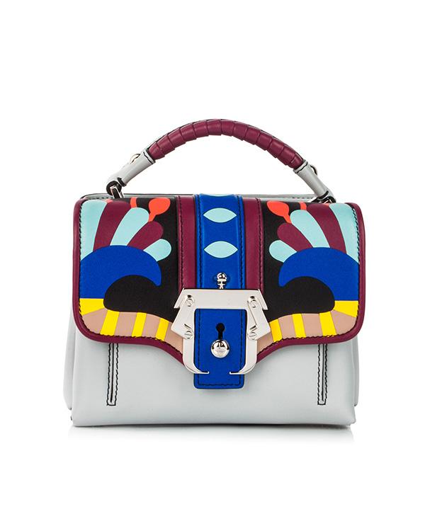 сумка из кожи теленка с контрастными кожаными вставками и металлической фурнитурой артикул DUNDUNRC18 марки Paula Cademartori купить за 55200 руб.