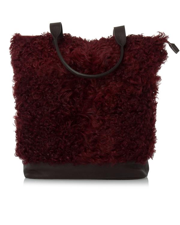 сумка из шагреневой кожи и крашеного меха артикул EMYBAG050086 марки P.A.R.O.S.H. купить за 45300 руб.
