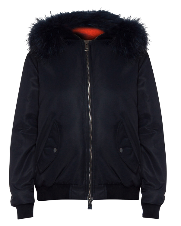 бомбер объемного силуэта с капюшоном и мехом артикул FCFW1721 марки Forte Couture купить за 59700 руб.