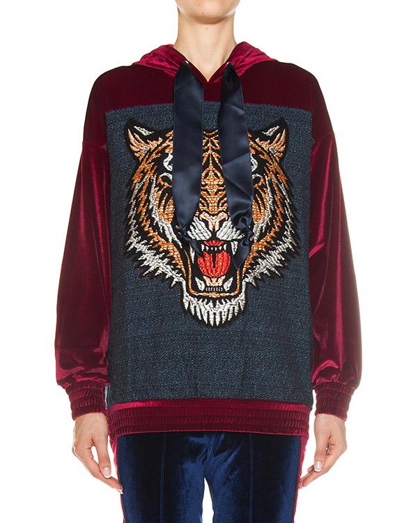 олимпийка из бархата с вышивкой артикул FCFW1730 марки Forte Couture купить за 39700 руб.