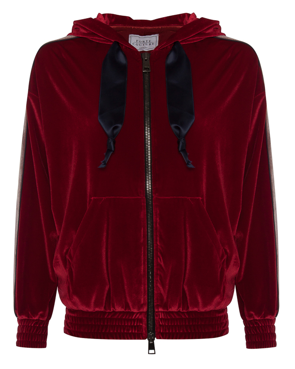 олимпийка из мягкого бархата с капюшоном артикул FCFW1761 марки Forte Couture купить за 34600 руб.