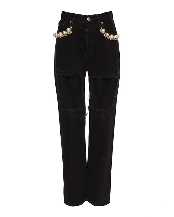 джинсы из плотного денима, декорированы вырезами; карманы украшены крупными бусинами и цепью артикул FCSS1661 марки Forte Couture купить за 16400 руб.