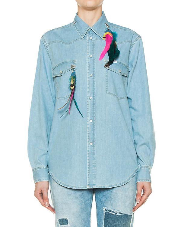 рубашка из денима с разноцветными перьями артикул FCSS1732 марки Forte Couture купить за 14300 руб.