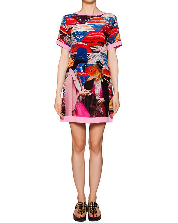 платье из легкого шелка с ярким абстрактным рисунком, дополнено трикотажной отделкой артикул FISH1 марки The Artistylist купить за 25300 руб.