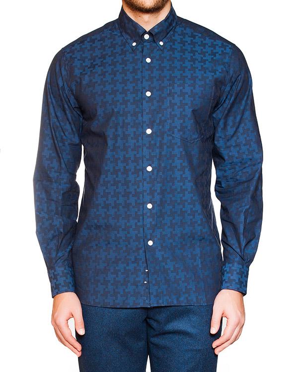 рубашка классического кроя из мягкого хлопка с узором артикул FW15M022 марки Maison Kitsune купить за 14600 руб.