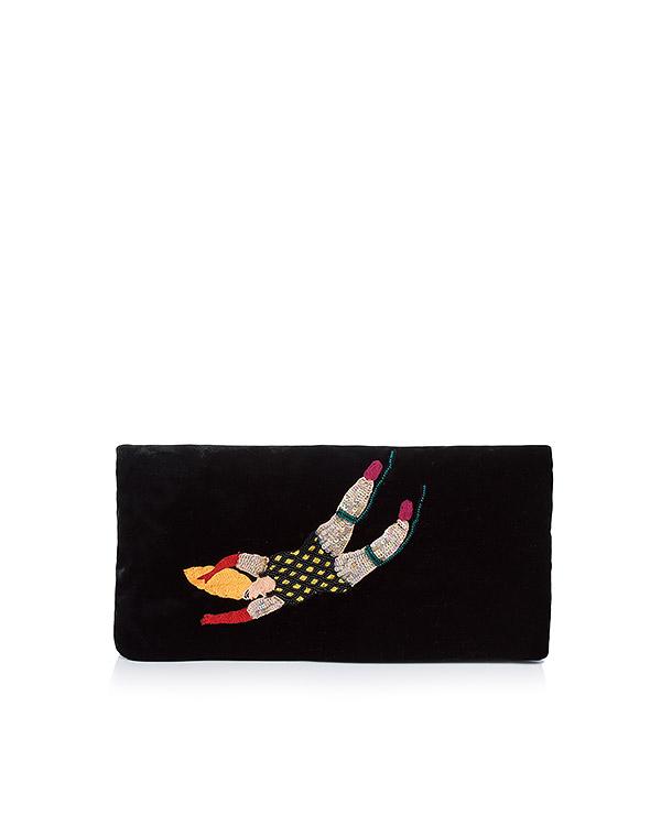 клатч из бархата, украшен вышивкой из пайеток артикул FW17100ginger марки KATЯ DOBRЯKOVA купить за 13600 руб.